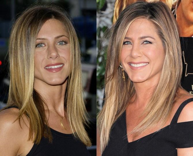 **Jennifer Aniston**  <br> 2002 vs. now