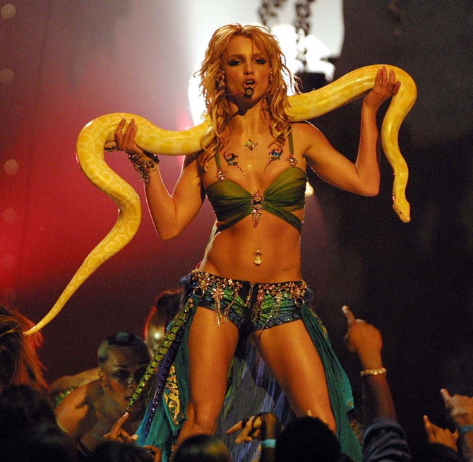 In 2001 the whole world became a slave to Britney Spears... including snakes.