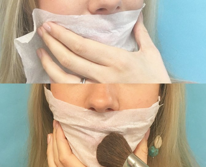 9. Halve a tissues ply (so it's nice and thin) and hold it over your mouth, then dust translucent powder through the tissue onto your lips to set your lipstick.