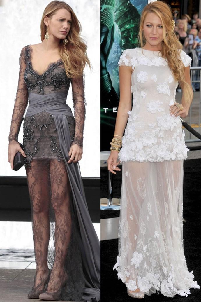 Sheer lace dress twins