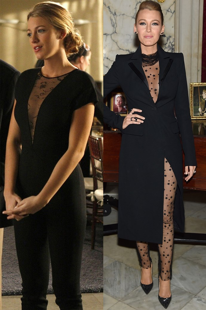 Black lace bodysuit twins