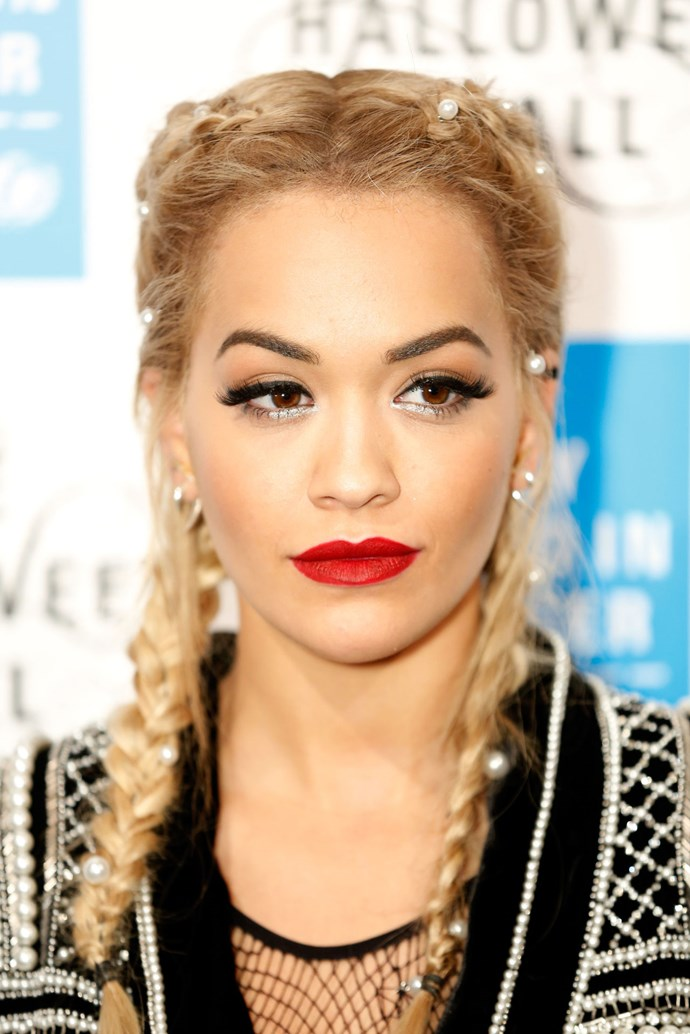 **Rita Ora** Perhaps the most iconic beauty bullet of all time, MAC lipstick in Ruby Woo, is as cult with celebs as it is with us mere mortals. We LOVE it on Rita Ora, who rocks red like no other.