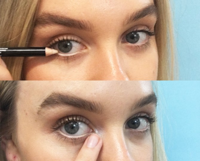 14. Line your waterline with a flesh-coloured pencil and press highlighter onto the inner corners of your eyes to help hide those late nights.