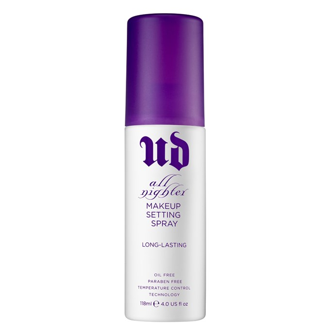 """3. [Urban Decay All Nighter Long-Lasting Makeup Setting Spray](http://mecca.com.au/urban-decay/all-nighter-long-lasting-makeup-setting-spray/V-021094.html#q=all%2Bnighter&start=1