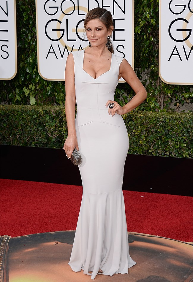 Maria Menounos is keeping things classic and classy in this figure-hugging gown. What we really love, though, is that beautiful braid.