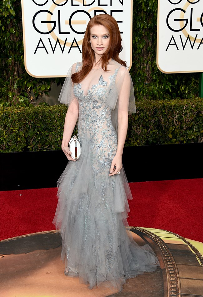 Sarah Hay looks like an actual angel from heaven in this floaty dove-grey gown. It's a perfect colour choice for anyone who has incredible, fiery red hair.