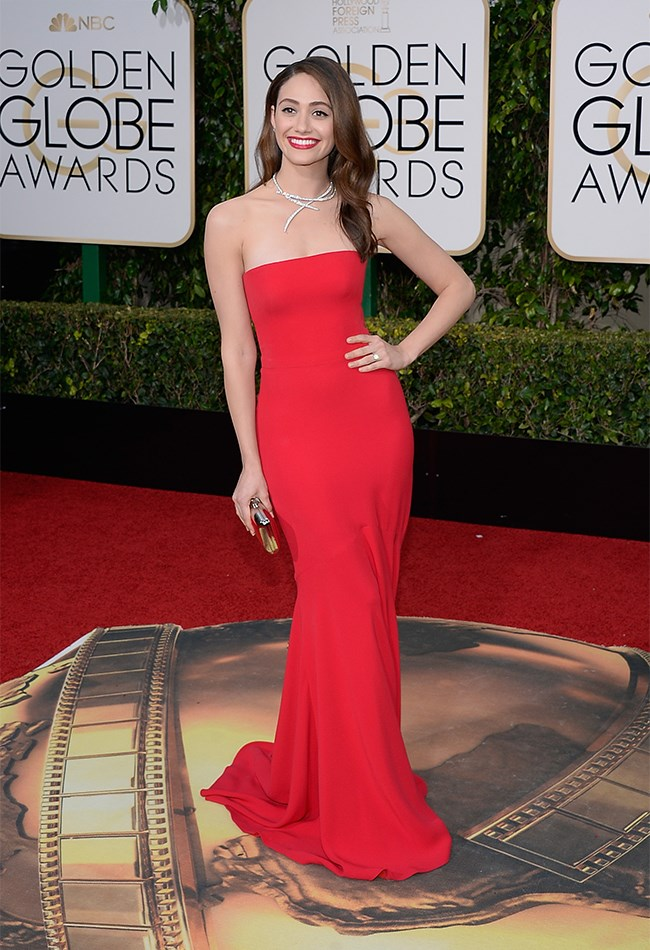 Emmy Rossum = red dress, red lip, red hot in Armani Prive!