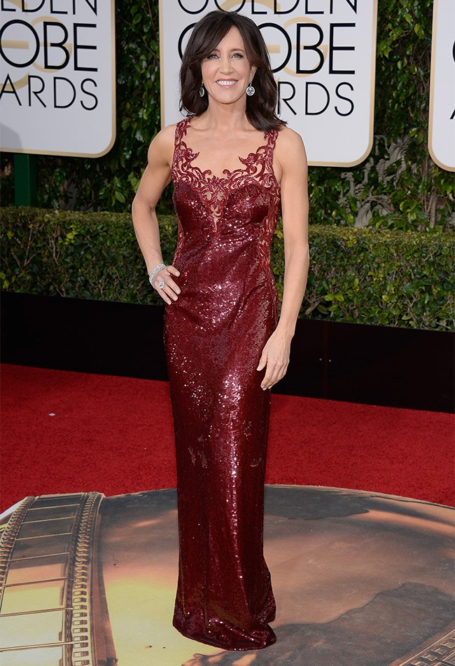 Felicity Huffman brought all of the va-va-voom in this burgundy sequinned number.