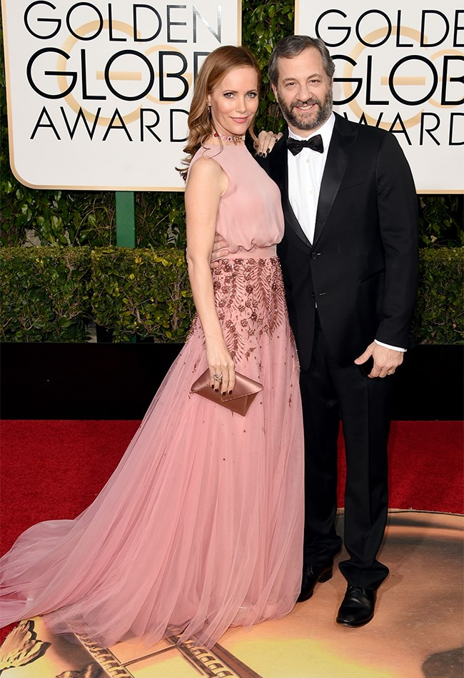 Leslie Mann also opted for pink, bit settled on a more rosy tone in this Monique Lullier gown. Judd Apaatow, you're alright, too.