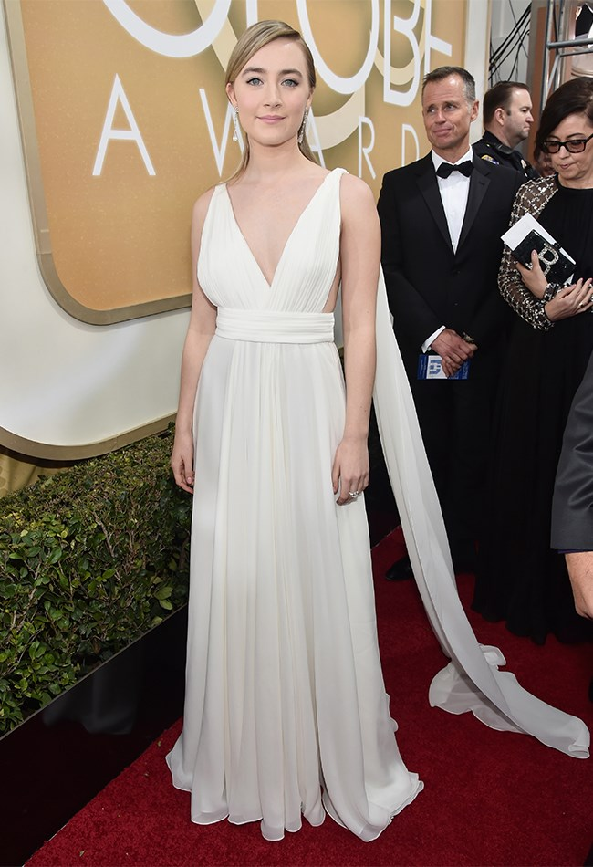 Saoirse Ronan kept things simple in white YSL. She looks pretty, but we're not particularly excited.