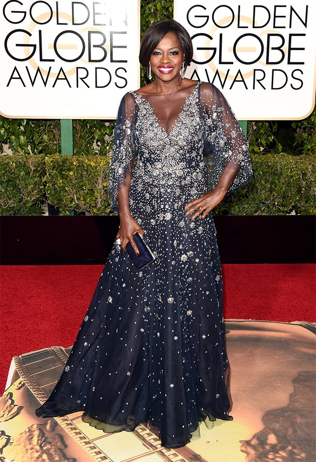 Viola Davis was ALL about the sparkle in this navy Marchesa gown.