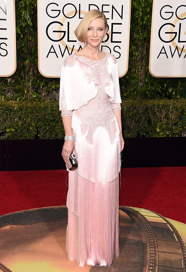 Cate Blanchett's pale pink, gatsby style Givenchy gown had just the right amount of fringing to make our hearts sing! Not sure about that hair though...