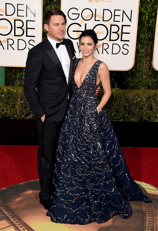Jenna Dewan Tatum is wearing a stunning Zuhair Murad gown, which is just enough to take the attention away from Channing's questionable hair.