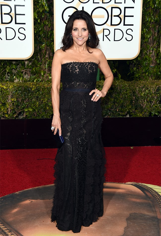 Julia Louis Dreyfus looks pretty in black lace, but, you know, you've seen one black strapless gown, you've seen them all, right?
