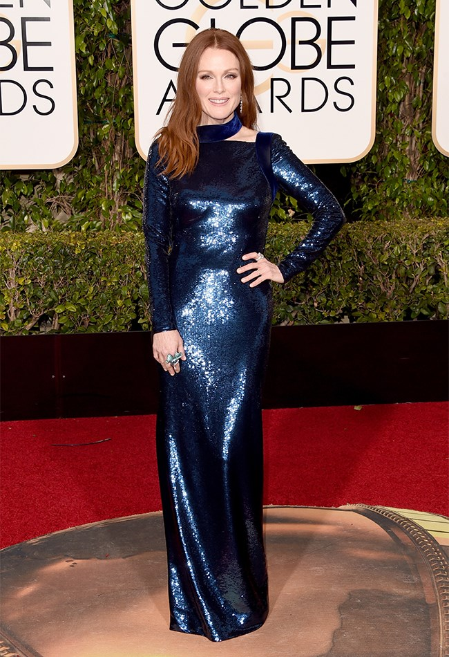 It seems navy blue is the colour of the season, with Julianne Moore also opting for the magical hue with this Tom Ford gown.
