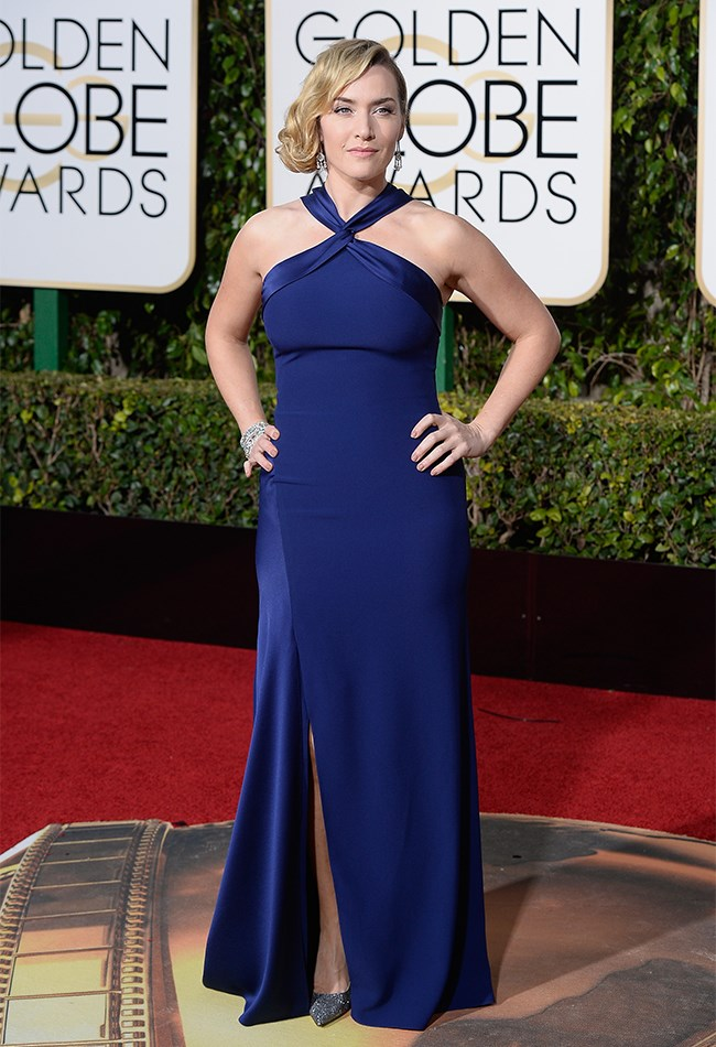 Kate Winslet also caught the navy-train, but she got off at Boring Station wearing this Ralph Lauren dress.