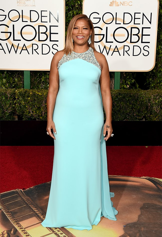 Sorry, Queen Latifa but this turquoise coloured gown reminds us of our year 10 formal, not the Golden Globes.