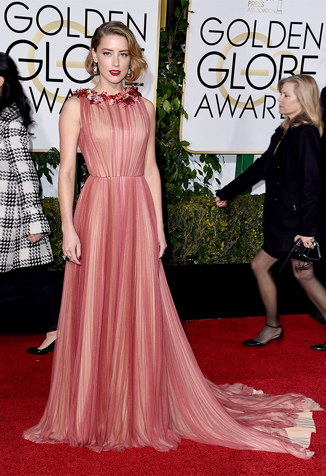 Amber Heard looks EXQUISITE in this rose coloured Gucci gown.