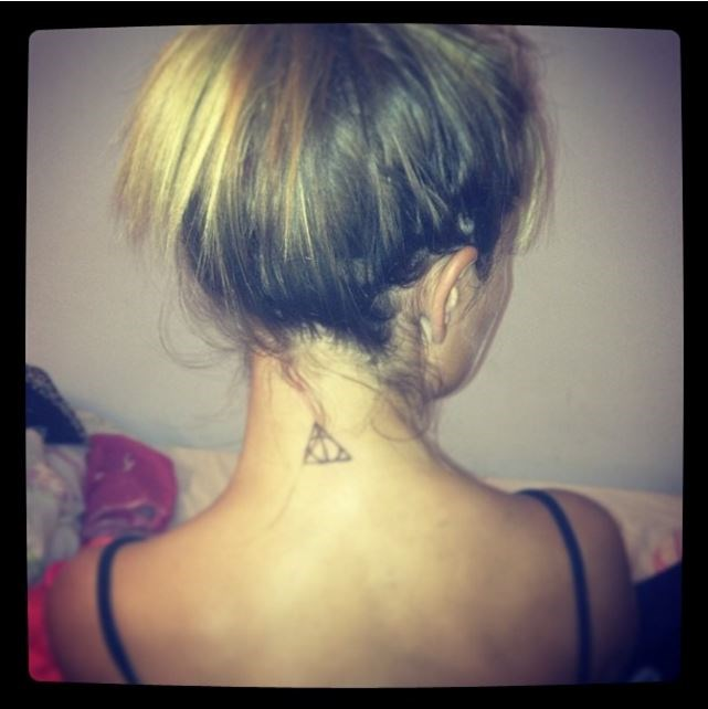 "1. Deathly Hallows symbol ​MIC's *​Jess Woodley is on the ​Harry Potter *​tattoo hype, and has a little Deathly Hallows symbol on the nape of her neck. Via [@jessicaannewoodley](https://www.instagram.com/jessicaannewoodley/|target=""_blank"")"