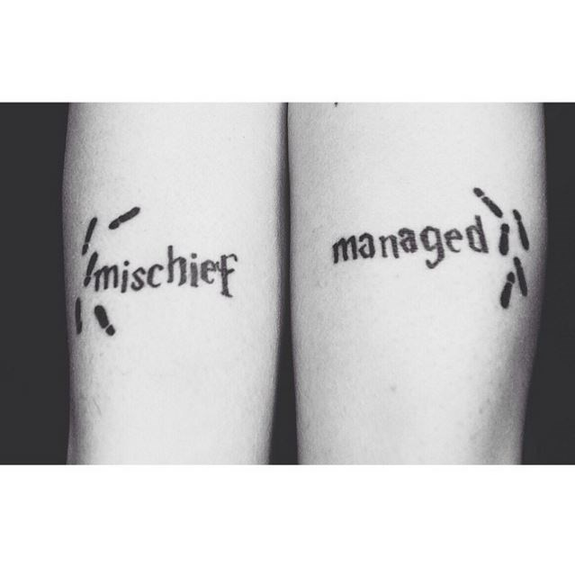 "2. Mischief Managed​ In an ode to Fred & George, this ​HP *​fan had the words 'mischief' and 'managed' tattooed on each of her arms.  Via [@suprnvagrrl](https://www.instagram.com/suprnvagrrl/|target=""_blank"")"