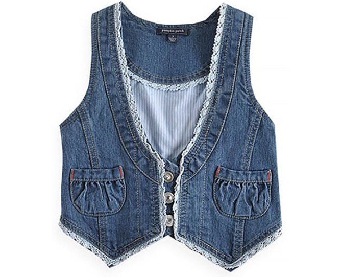 **7. Cropped denim vests**    How did we ever think these looked good over the top of our dresses??