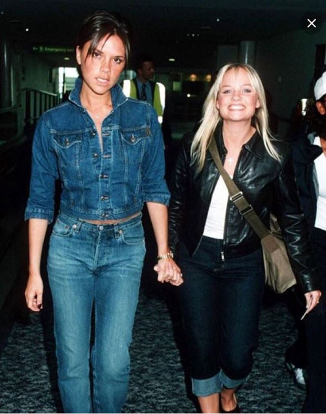 "Fellow Spice Girl, Posh Spice (AKA [Victoria Beckham](https://www.instagram.com/victoriabeckham/|target=""_blank"")) Instagrammed this pic today wishing her baby pal a happy birthday. They look like they could be in a Levis ad and it's wonderful."