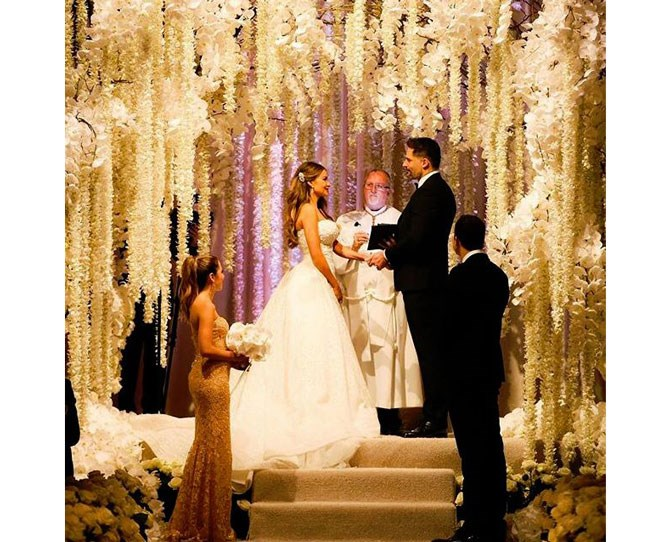 **584,680 likes** Sofia Vergara, one half of the hottest couple on the planet, gave us a serious play-by-play of her big day. Her most-liked snap of the day showed off the INSANE flower installation at the ceremony and read 'Goodnight. Gracias @mindyweiss @jeffleatham @zuhairmuradofficial @lorraineschwartz for helping us make our dream come true *ton of hearts emojis*'.