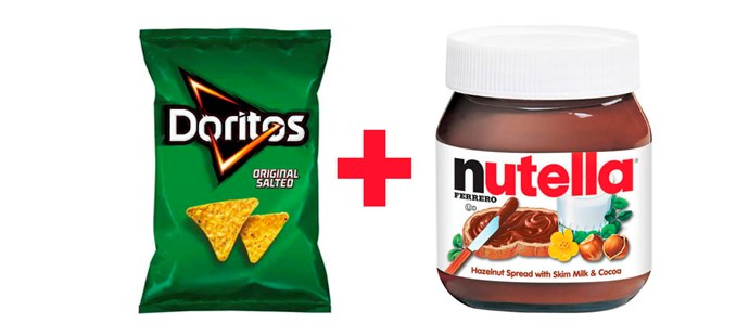 **1. Original Doritos dipped into Nutella.**