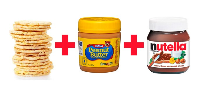 **4. Corn Thins spread with peanut butter and Nutella.**