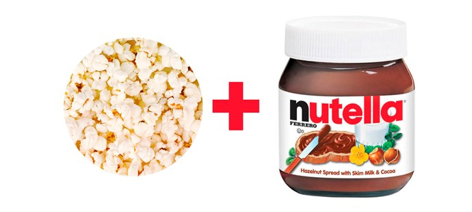 **5. Salted popcorn drizzled with Nutella.**