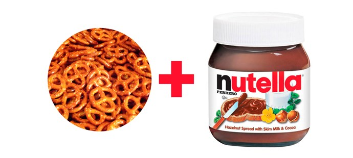 **6. Pretzels dipped in Nutella.**