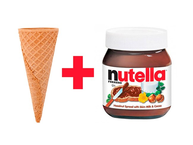 **9. An ice cream cone filled with Nutella.**