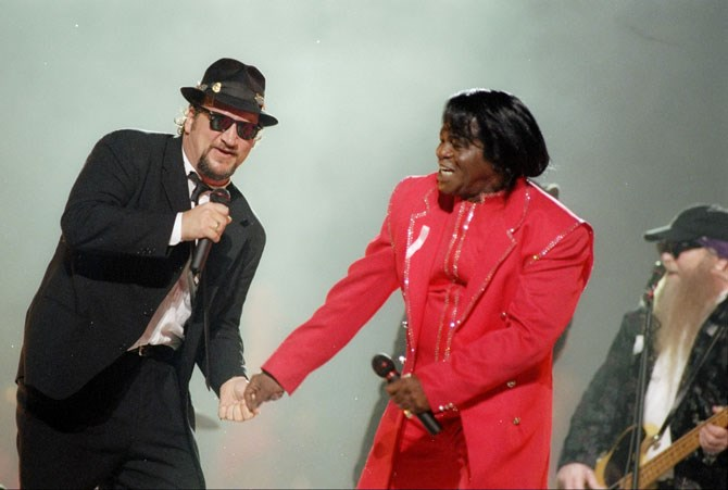 James Belushi from The Blue Brothers on stage with James Brown in 1997.