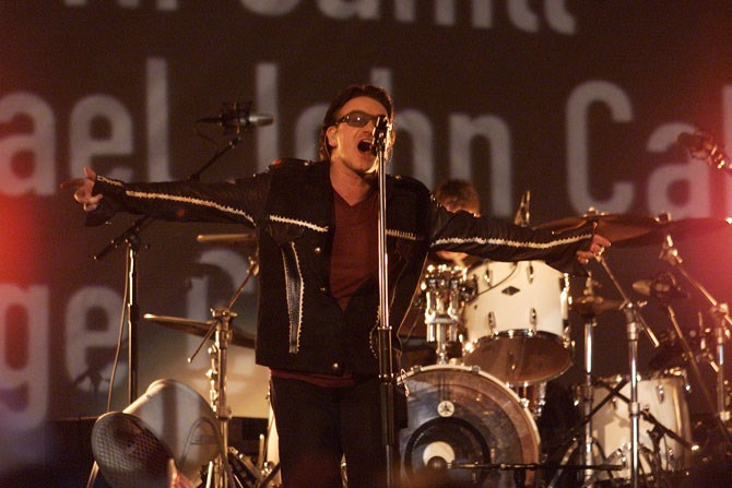 U2 paid tribute to the victims of 9/11 in 2002.