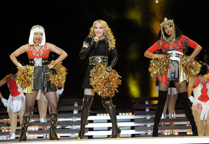 Madonna was joined by Nicki Minaj and M.I.A in 2012.