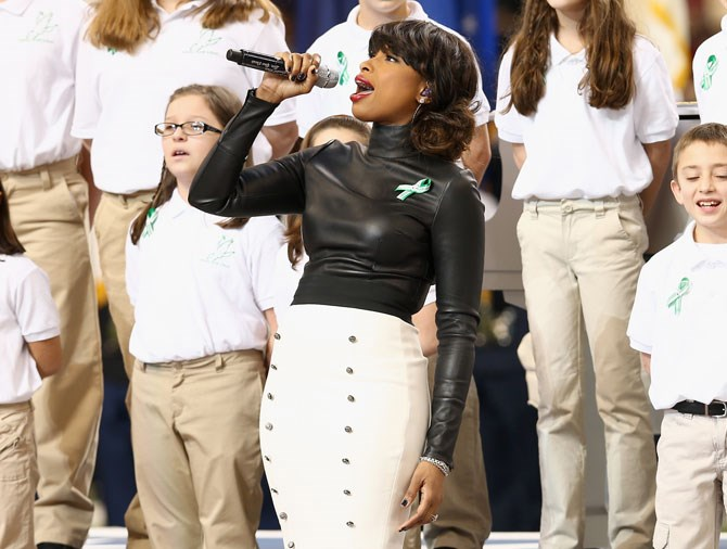 Jennifer Hudson and the Sandy Hook choir performed a moving rendition of 'America the Beautiful' in 2013.