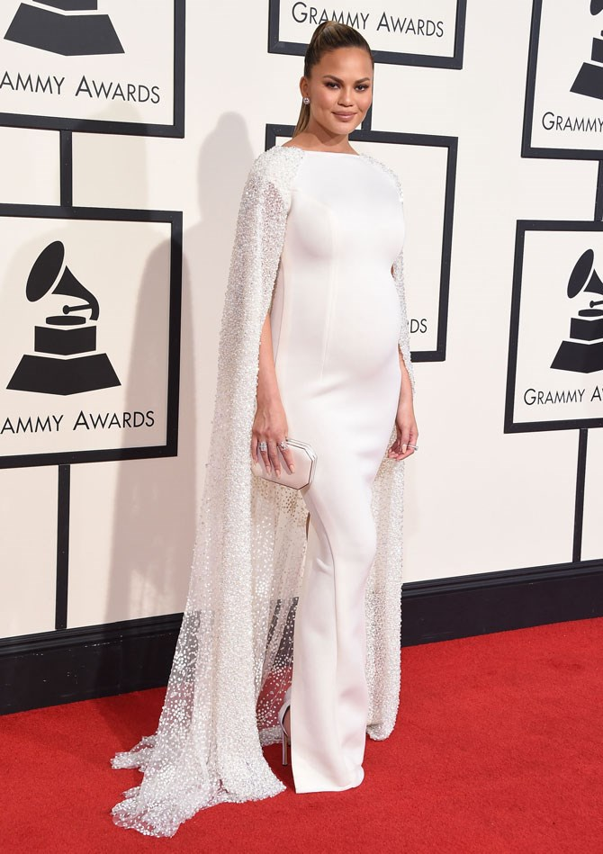At the actual Grammy's she just blew us all away with this insane white caped gown that made her look like a real-life angel.
