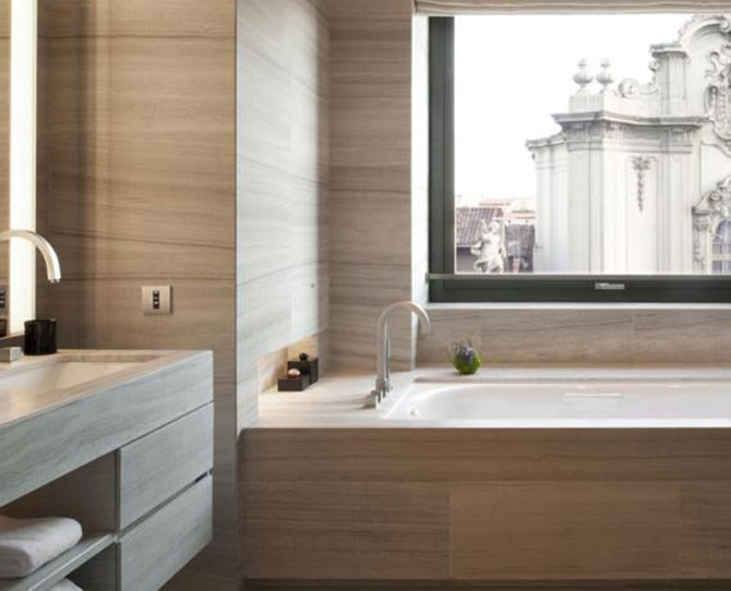 Of an evening, enjoy a meal at the Michelin-star Armani/Ristorante then finish the night off in your luxuriously modern tub in your luxuriously modern suite because, LUXURY!    *Image supplied by Booking.com *