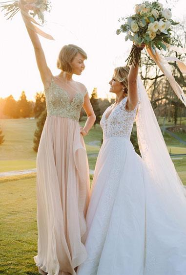 "**Taylor Swift** <br><br> Constantly proving to be the ultimate gal pal, Taylor Swift played maid of honour for her best friend, Britany Maack. ""This is my first time, and it's really, really important to me because this is my best friend, who I've known since I was born,"" she told *PEOPLE* magazine."