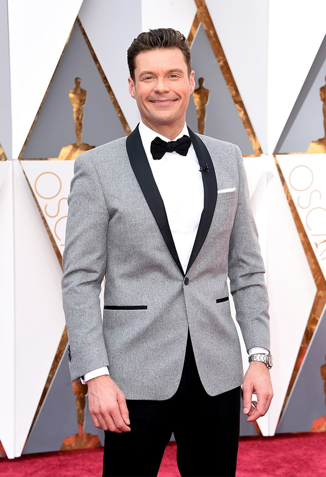 Ryan Seacrest all dapper in black, white and grey.