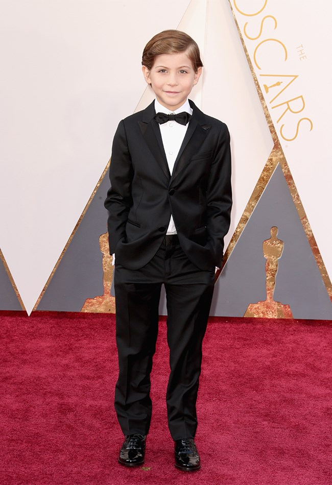 Jacob Tremblay is wearing a mini Armani suit. WHO EVEN KNEW YOU COULD GET ARMANI THAT SMALL?!