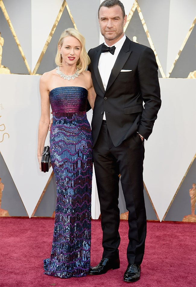 Naomi Watts is so glam and gorgeous in this berry-coloured strapless number and Liev Schrieber is quite possibly the sexiest accessory we've ever seen.