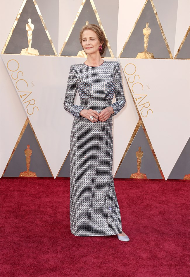 Ummm SLAY, Charlotte Rampling! Talk about giving the newbies a run for their money! The Best Actress nominee looks absolutely divine in this head-to-toe beaded, long sleeve gown. Love the boob pocket details. Love the thick cuffs. This chick will NEVER go out of style.