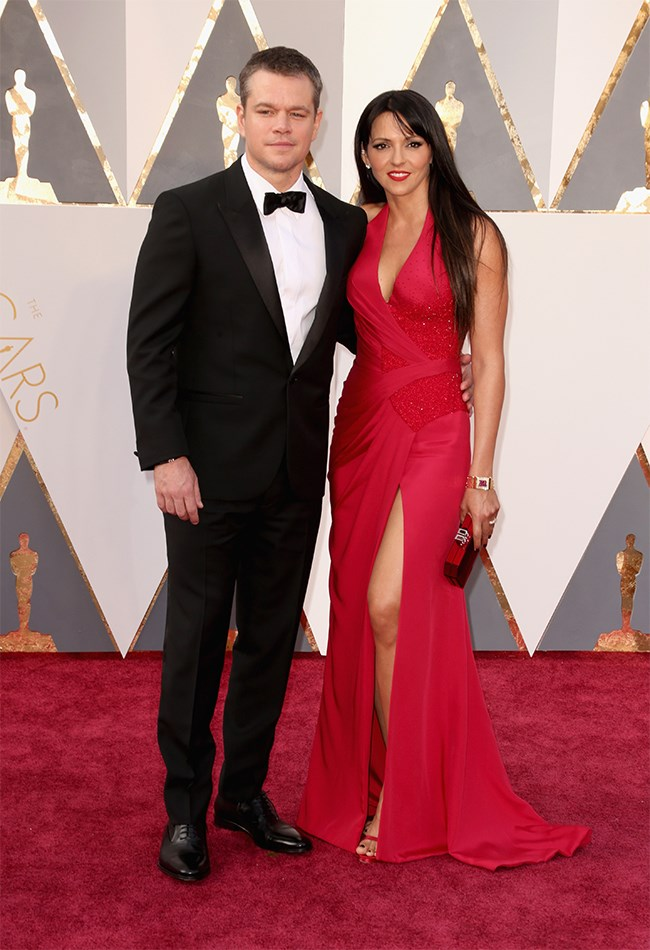Hi Matt Damon and wifey, Luciana Barroso. Matt will always be a spunk. We're not so excited by Luciana's look. But back to Matt...