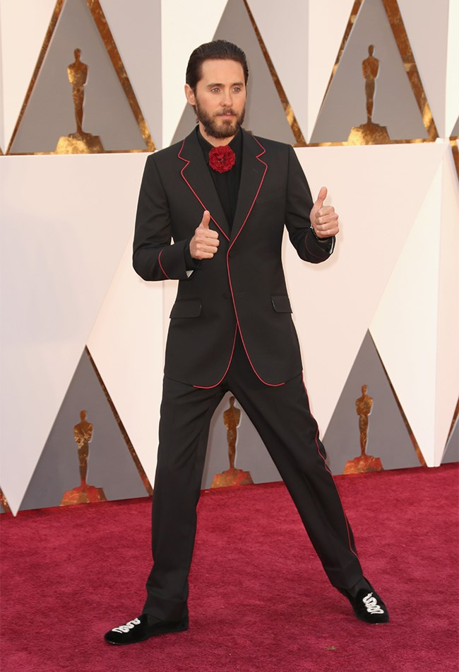 Like, we're impressed that Jared Leto took a risk and did something different and super fashion foward, but it's more of a one-thumb moment, than a two-thumb moment. We think.