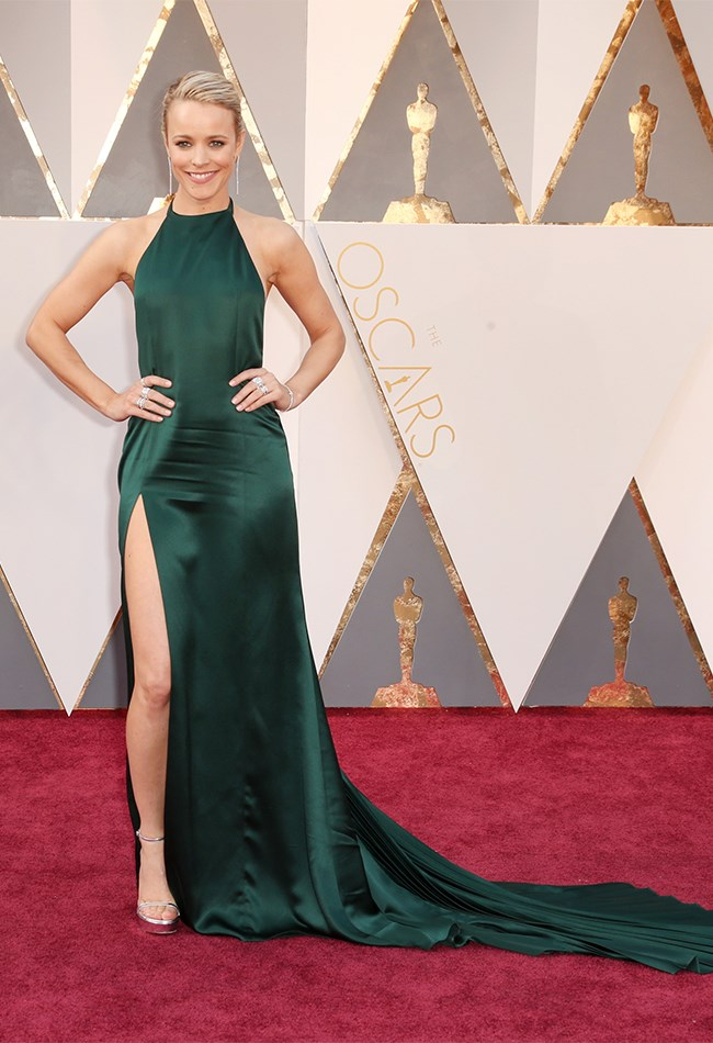 Ohhhh, Rachel McAdams we REALLY want to love this deep green gown but there's just something that is a bit... off? It doesn't fit her perfectly and the front hem just needs to come up JUST a smidge. We're sorry. We love you. You still look beautiful.