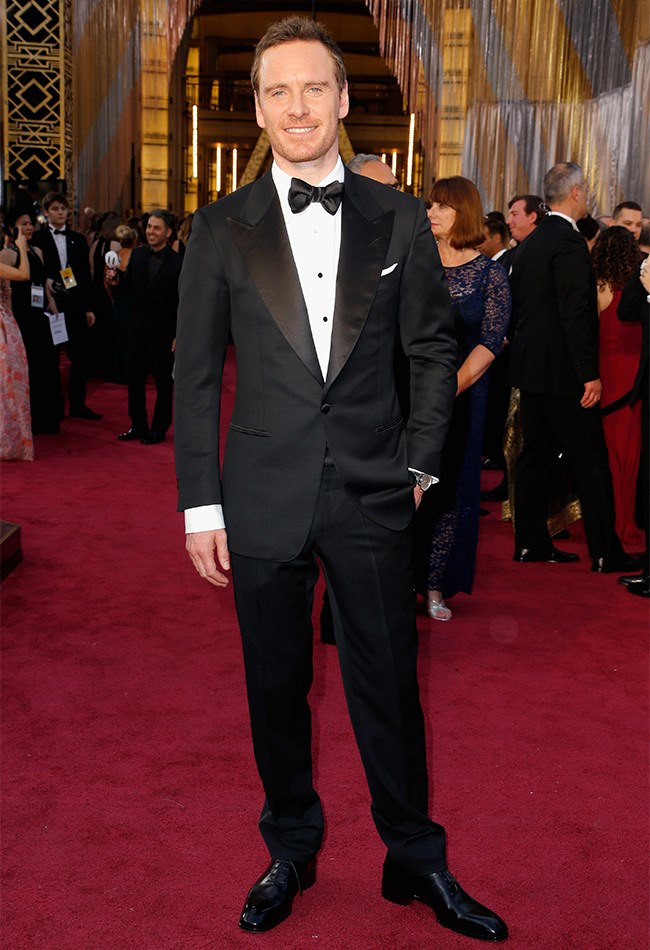 Michael Fassbender is so chill just posing up a storm in his penguin suit.