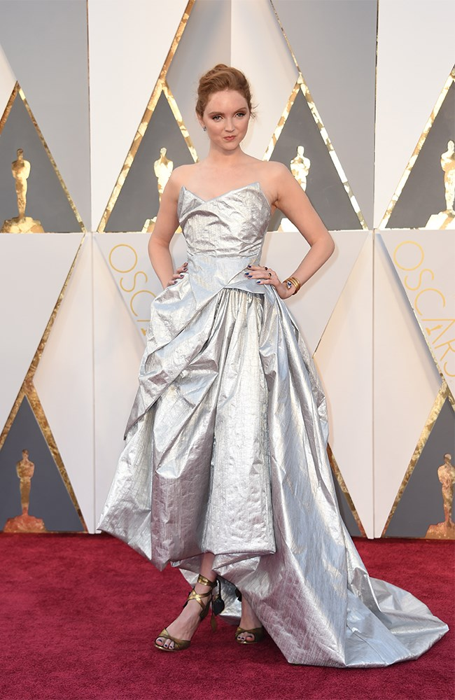 Lily Cole looks pretty special in this super dramatic silver gown. Also LOVE those heels!