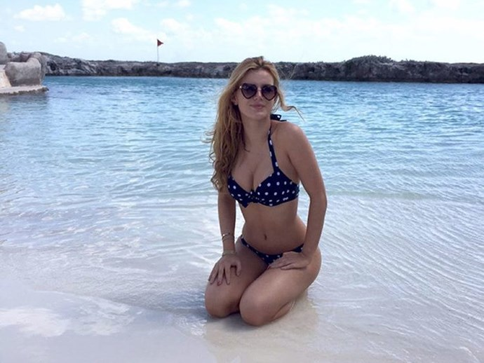 "[Bella Thorne](https://www.instagram.com/bellathorne/|target=""_blank"") celebrated 10 million Insatgram followers with a picture of her looking super gorg just splashing around in her polka dot bikini."