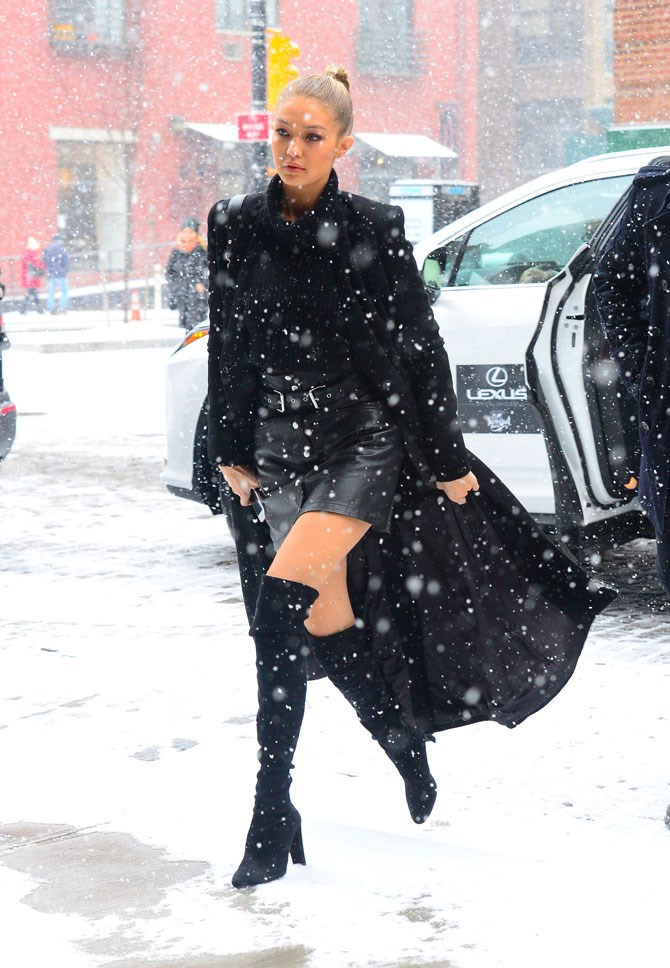 Gigi Hadid doesn't feel the cold temperatures because she is like fire.